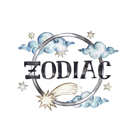 Zodiac - Writing on white background. Watercolor Illustration