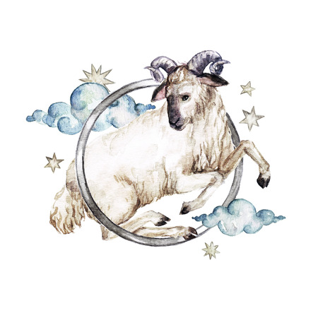 Zodiac sign - Aries. Watercolor Illustration Stock Photo