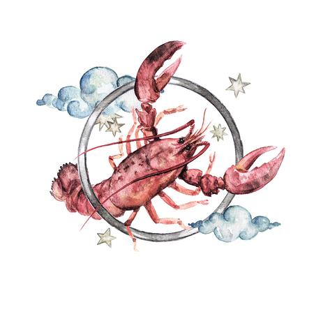 Zodiac sign - Cancer. Watercolor Illustration
