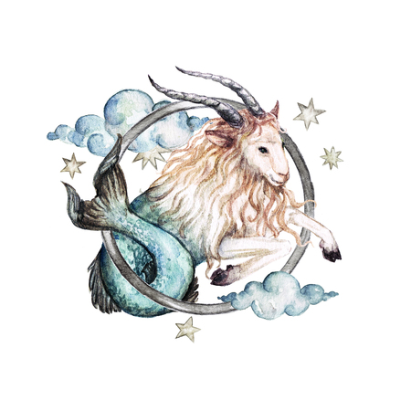 Zodiac sign - Capricorn. Watercolor Illustration 스톡 콘텐츠