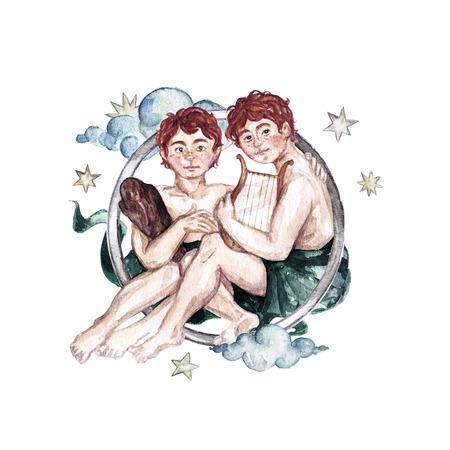 Zodiac sign - Gemini. Watercolor Illustration