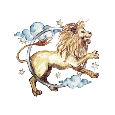 Zodiac sign - Leo. Watercolor Illustration