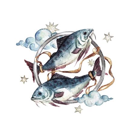 Zodiac sign - Pisces. Watercolor Illustration