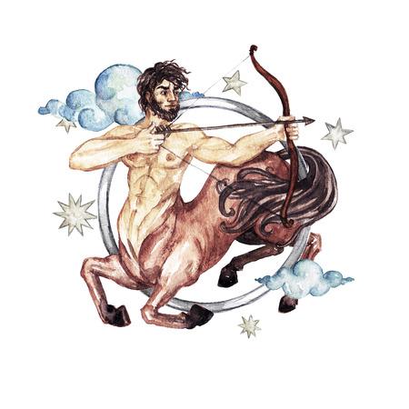 Zodiac sign - Sagittarius. Watercolor Illustration Stock Photo