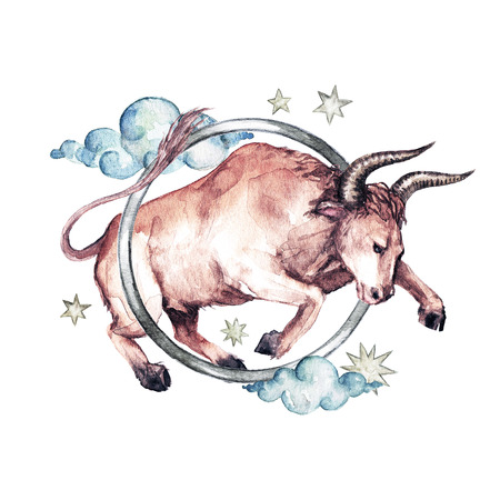 Zodiac sign - Taurus. Watercolor Illustration Stock Photo