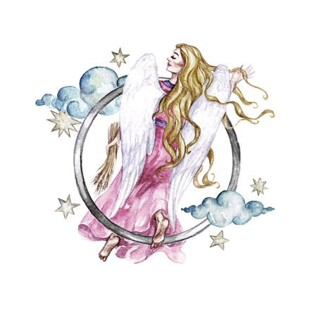 Zodiac sign - Virgo. Watercolor Illustration