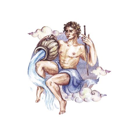 Zodiac sign - Aquarius. Watercolor Illustration
