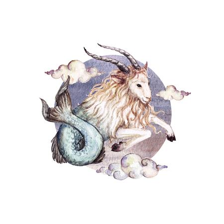 Zodiac sign - Capricorn. Watercolor Illustration Stock Photo