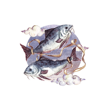 Zodiac sign - Pisces. Watercolor Illustration