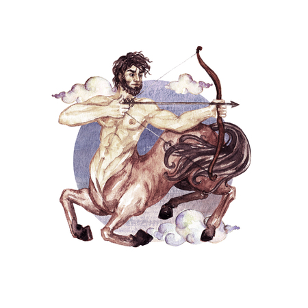 Zodiac sign - Sagittarius. Watercolor Illustration Banco de Imagens