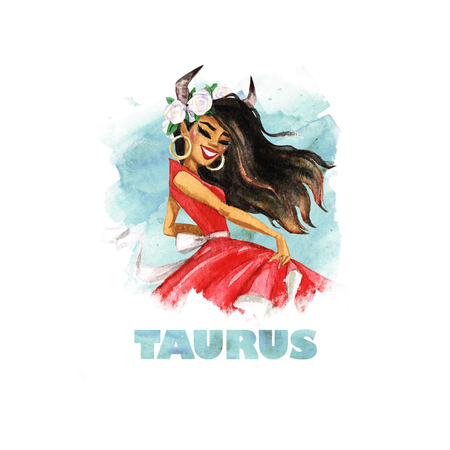 Zodiac sign - Taurus. Watercolor Illustration 版權商用圖片
