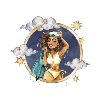 Pisces - Zodiac Symbol. Watercolor Illustration.