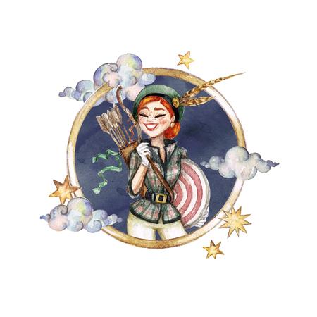 Sagittarius - Zodiac Symbol. Watercolor Illustration. Stock Photo