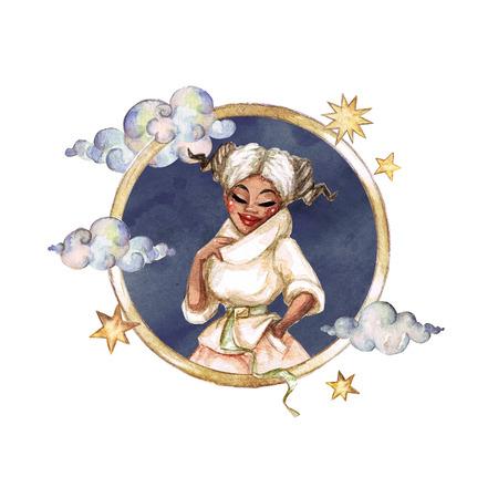 Aries - Zodiac Symbol. Watercolor Illustration. Stock Photo