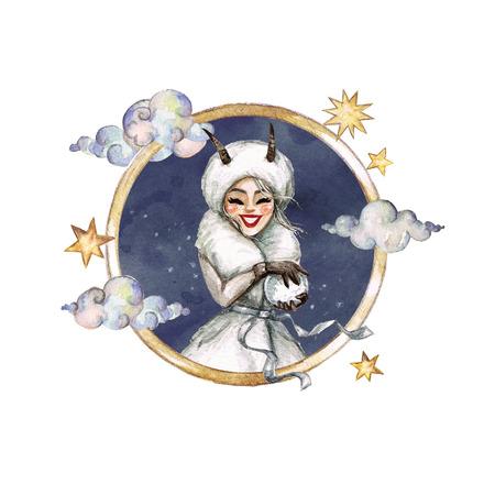 Capricorn - Zodiac Symbol. Watercolor Illustration. Stock Photo