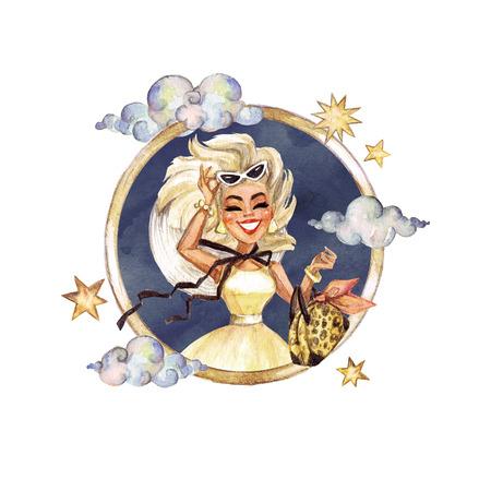 Leo - Zodiac Symbol. Watercolor Illustration. Reklamní fotografie
