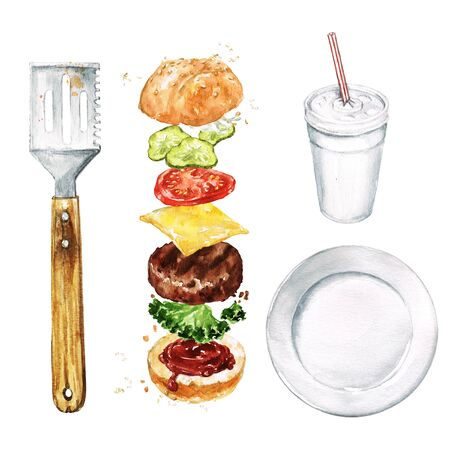 Burger, Soda, Spatula, Plate. Watercolor Illustration