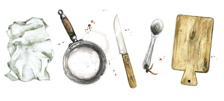 Old Rustic Cookware. Watercolor Illustration Stockfoto - 131968321