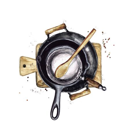 Rustic Pans stocked in a pile. Watercolor Illustration
