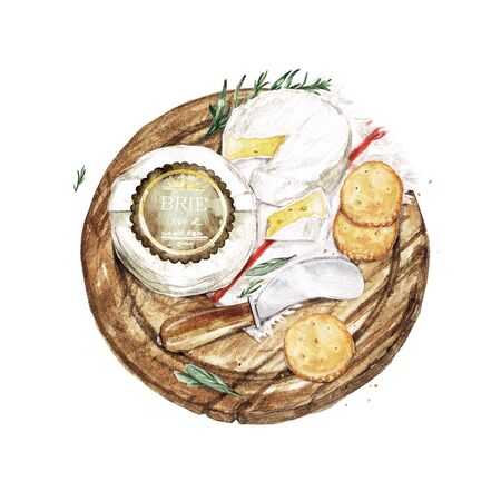 Brie Cheese with Knife and Crackers. Watercolor Illustration Фото со стока - 131967742