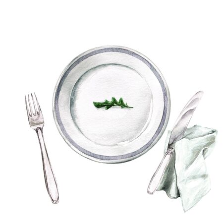 Empty Plate. Arugula leaf. Watercolor Illustration