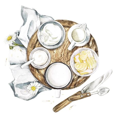 Dairy Products - Countryside Style. Watercolor Illustration Stock Photo