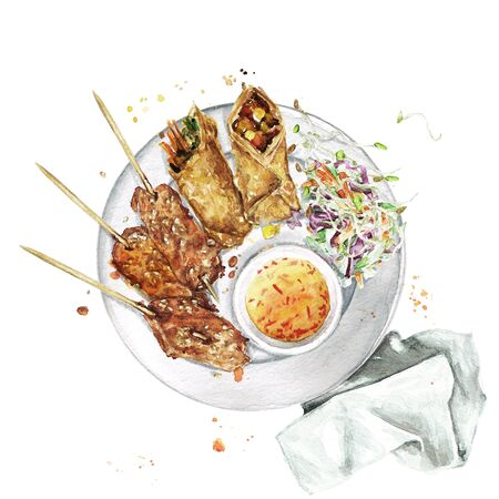 Spring rolls and chicken. Watercolor Illustration Banque d'images - 131968238
