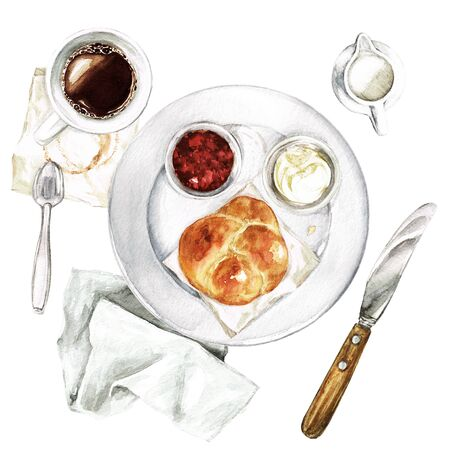 Leichtes Frühstück - Kaffee, Brötchen, Aufstrich. Aquarellillustration Standard-Bild