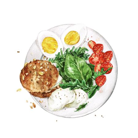 Healthy Breakfast - bread, eggs, cheese, greens and tomatoes. Watercolor Illustration Stock Photo