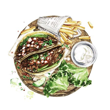 Tacos and Fries. Watercolor Illustration Reklamní fotografie - 131967359