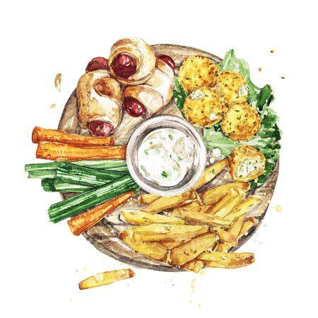 Bar Snacks Platter. Watercolor Illustration Reklamní fotografie - 131968075