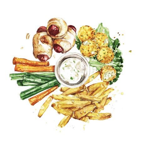 Bar Snacks Platter. Watercolor Illustration Reklamní fotografie - 131967338