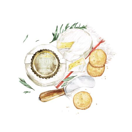 Brie Cheese with Knife and Crackers. Watercolor Illustration Stock Photo