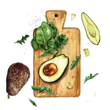 Avocado and Greens on a wooden board. Watercolor Illustration 版權商用圖片