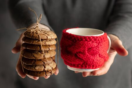 Christmas food. Woman's hands holding a batch of cookies and a cup in red knitted cuo holder.