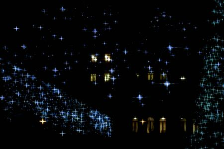 Isolated lights stars shape with yellow wndows as a background. Stock Photo