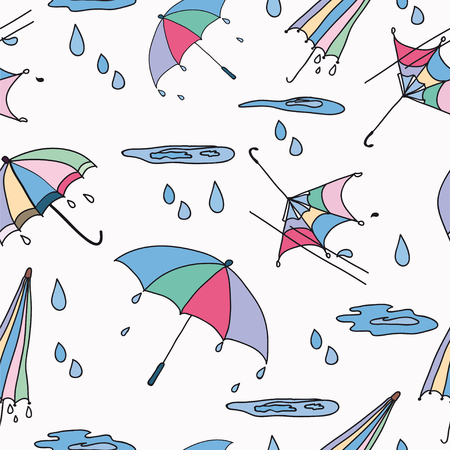 puddles: Seamless pattern from umbrellas, puddles, rain in a color on a white background