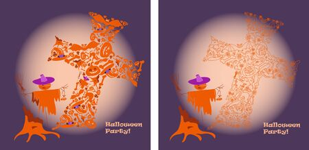 helloween: helloween party lilac backgraund, 2 variant