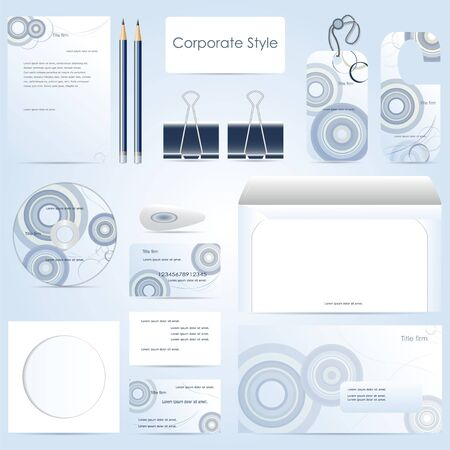blu: abstract corporate style on blu backgraubd, set, Stock Photo