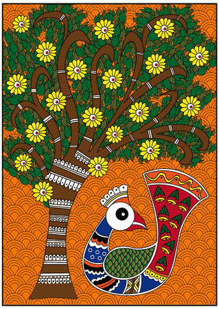 India colorful birdie and colorful tree