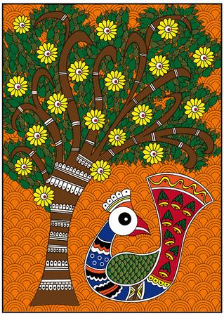 인도 다채로운 버디와 다채로운 나무 스톡 콘텐츠