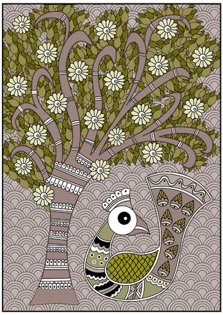 인도 버디 트리 올리브와 브라운 화이트 색상