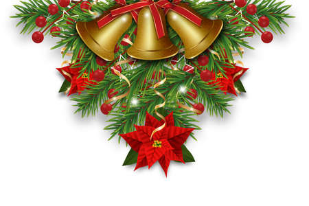 Christmas decorations with golden bells, fir branches, Christmas flowers poinsettia and holly berries. Design element for Xmas and New Year greeting card or banner and poster. Vector illustration