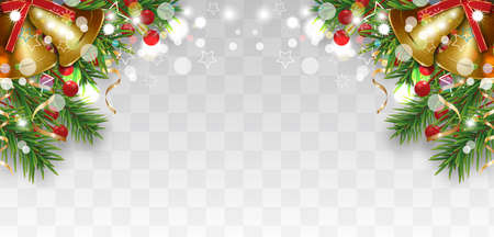 Christmas and Happy New Year decoration with Christmas tree branches, golden bells and holly berries, gold ribbons. Bright border on transparent background. Vector illustration.