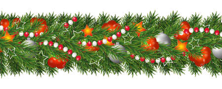 Christmas and happy New Year garland and border of Christmas tree branches decorated with holly Berries and silver baubles, stars and beads. Holiday decoration isolated on white background. Vector illustration.