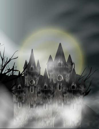 Gothic castle in fog in background full moon. Fantasy night view. Vector illustration. Vecteurs