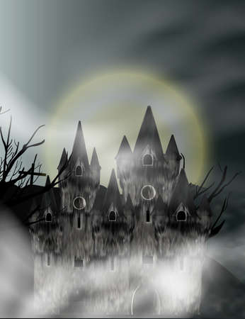 Gothic castle in fog in background full moon. Fantasy night view. Vector illustration.