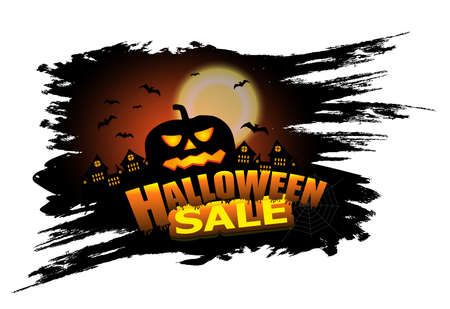 Halloween Sale elements design for poster or banner with pumpkin. Background with castle and bats. Vector illustration.