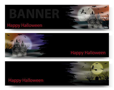 Halloween banner set on the black background with gothic castle, flying young witch, bats and full moon. Vector illustration.