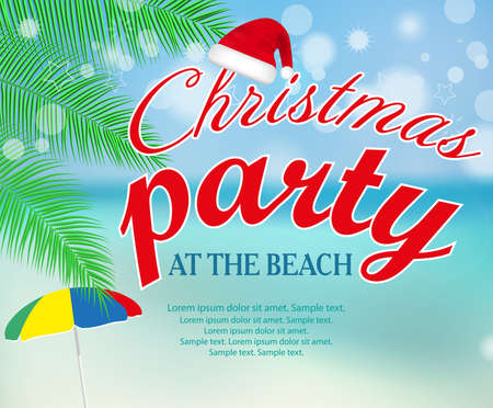 Christmas party at the beach poster or banner seashore landscape with palm. Vector illustration.